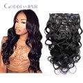 Ningún rastro brasileño Clip en la extensión del pelo humano 7 unids / 100 g cabeza completa Clip en la extensión del pelo humano para mujer negro envío gratis