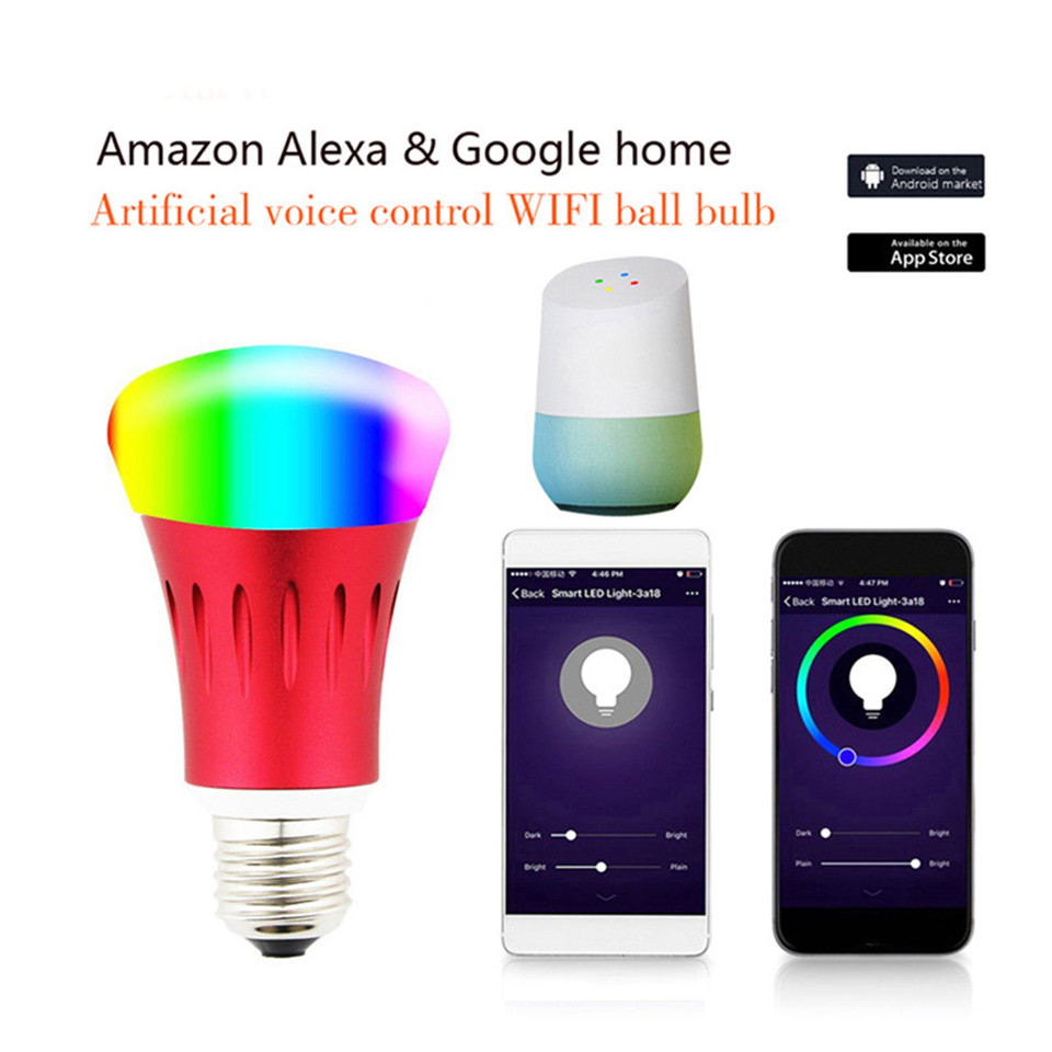 led bulb alexa voice control E27 party bulb 7W google home bulb for smart home wifi led lights dj led rgbw smart lamp new rf 315 e27 led lamp base bulb holder e27 screw timer switch remote control light lamp bulb holder for smart home