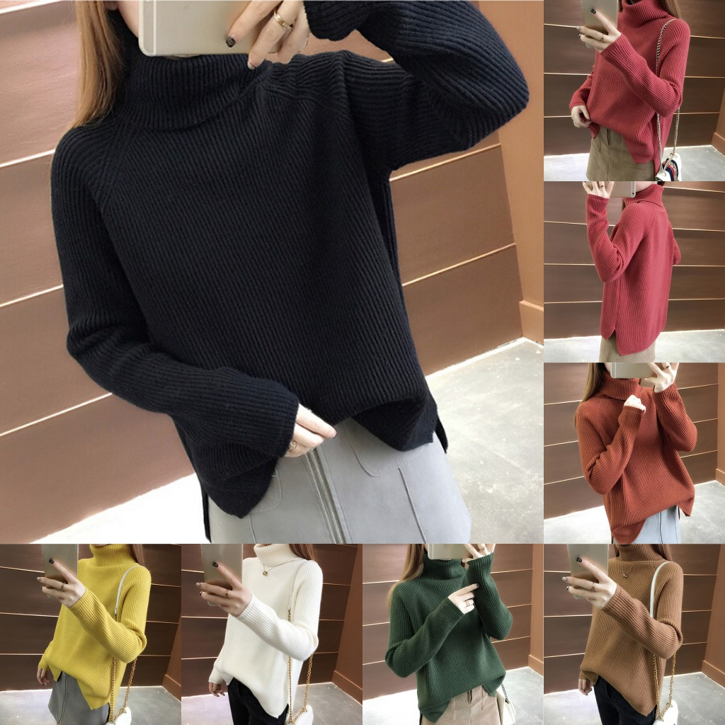 7 Colors Female Turtleneck Cashmere Sweater Casual Loose Split Korean Pullover Thicken Jumper Solid Color Sweater For Women