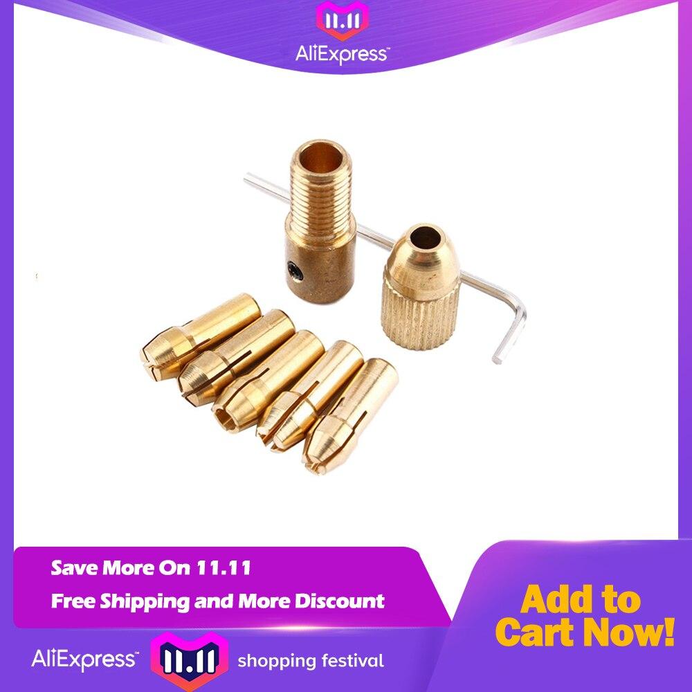 8 Pieces 0.5-3mm Drill Chuck Collets Set of Quick Chuck for Mini Tools Copper Drill Folder Copper Cap Axis Drill Collet Tool Kit цена