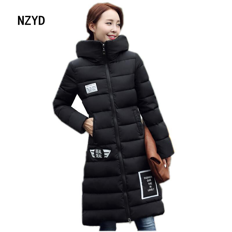 2016 Latest Winter Fashion Women Down jacket  Hooded Thickening Super warm Medium long Coat Letters Loose Big yards Coat SJ1205 2017 latest winter fashion women down jacket hooded thick super warm medium long coat long sleeve loose big yards parkas nz263