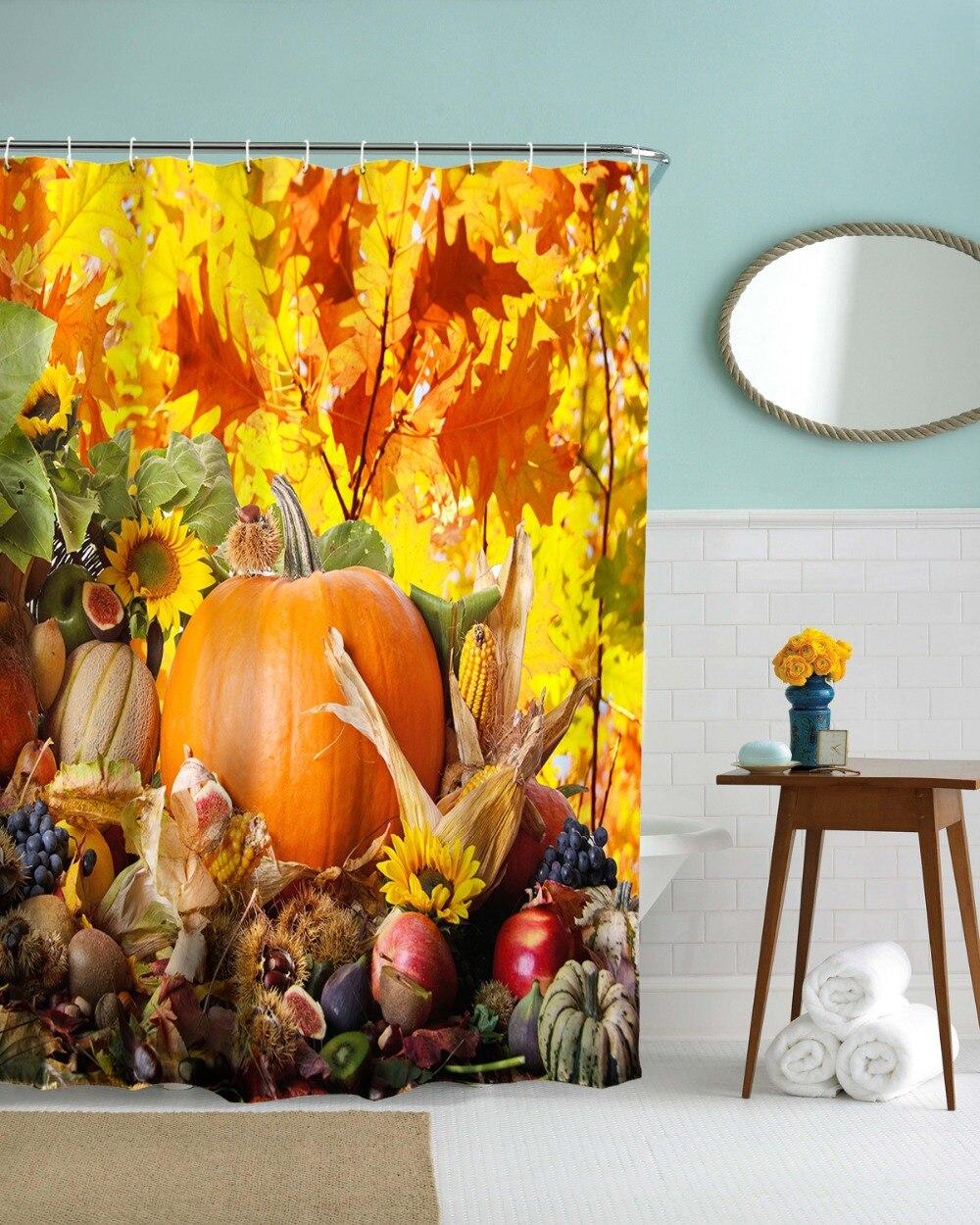 3D Halloween Autumn Pumpkin Shower Curtains Waterproof
