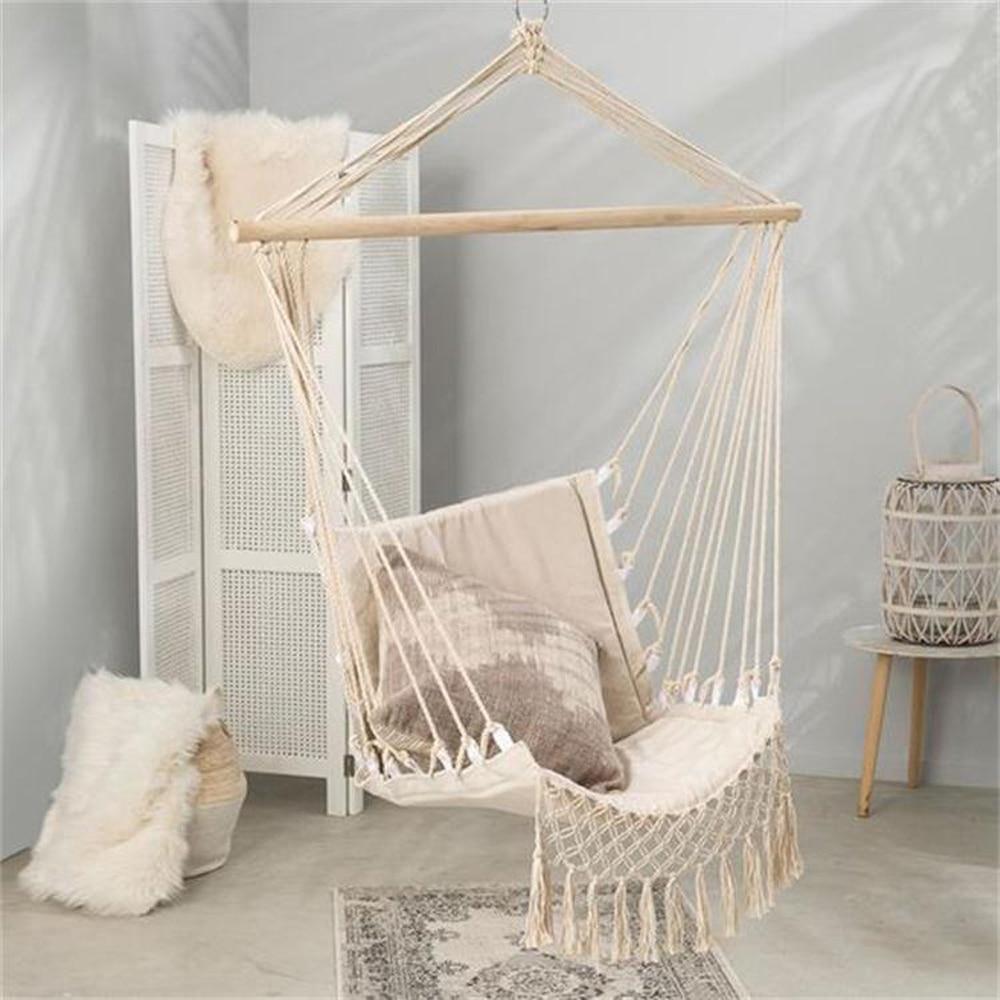 Hamac chaise suspendue corde balançoire pour enfants adulte extérieur intérieur meubles balançoire suspendue jardin dortoir unique chaise de sécurité