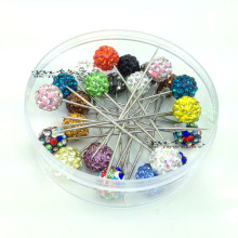 Rhinestone Ball Muslim Brooch Pin Hijab Scarf Pins(36 pcs/lot)