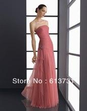 Freies Verschiffen Heißer Verkauf Strapless Coral Rot Lange Abendgesellschaft Kleider Tüll Abendkleid Hochzeit Gastkleider 912