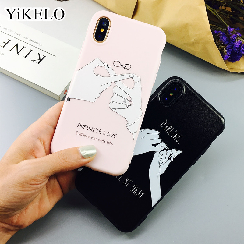 Galleria fotografica YiKELO Couple Fingers Sweet Hand Phone Case For iPhone X 6 6s 7 Plus Soft TPU Rubber Silicon Cases Back Cover Coque For iphoneX