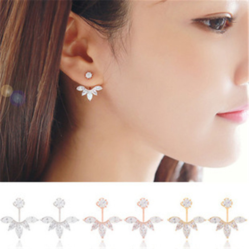 2016 Fashion Earing Jewelry Crystal Rose Gold Silver Ear Jackets Jewelry High Quality Leaf Ear Clips Stud Earrings For Women