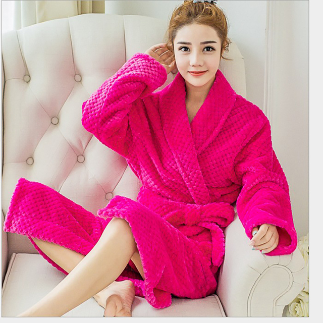 ebf17801aea9 2017 Women s Solid Color Womens Robes Full Sleeve Flannel Polyester Sleep Lounge  Robes Bride Bathrobe Pink Robe