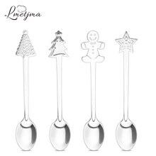Christmas Coffee-Spoons Stainless-Steel Tableware Drinking-Tea LMETJMA for Kid KC0167