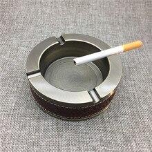 ФОТО mr.k high quality ashtrays 10cm diameter zinc alloy & red genuine leather round luxury cigarette cigar ashtrays