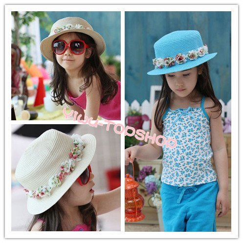 Free shipping New arrival Nice Cute Lovely Girl Kids Children Princess wreath straw hats sun beach hats Top hat Best seller