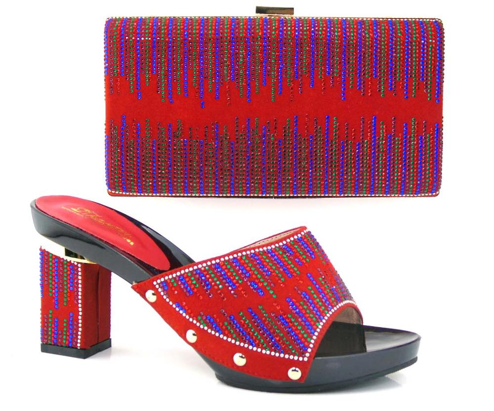 RED COLOUR Italian Woman Matching Shoes And Bag Set, High Quality Italian Shoes And Matching Bags Sets HELL 8CM