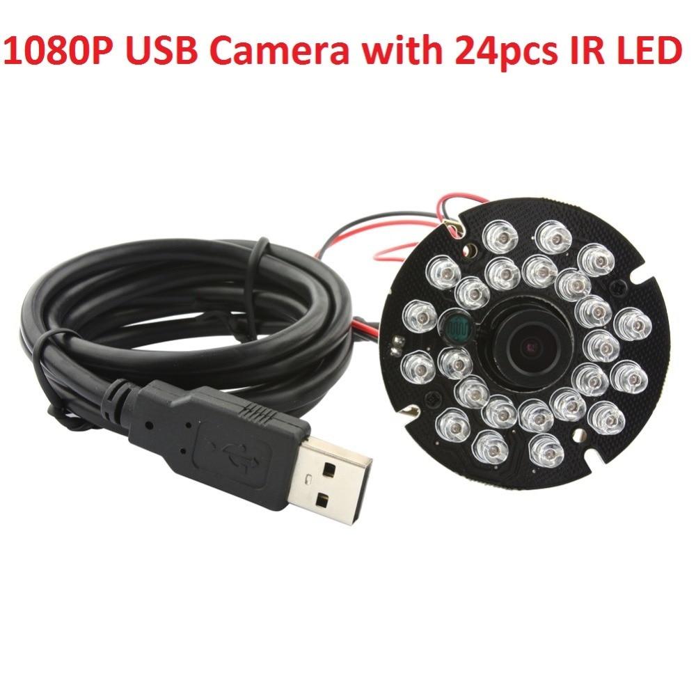 ELP 1080P MJPEG YUY2 CMOS Security IR CCTV Camera video Night Vision 2 8mm lens 24