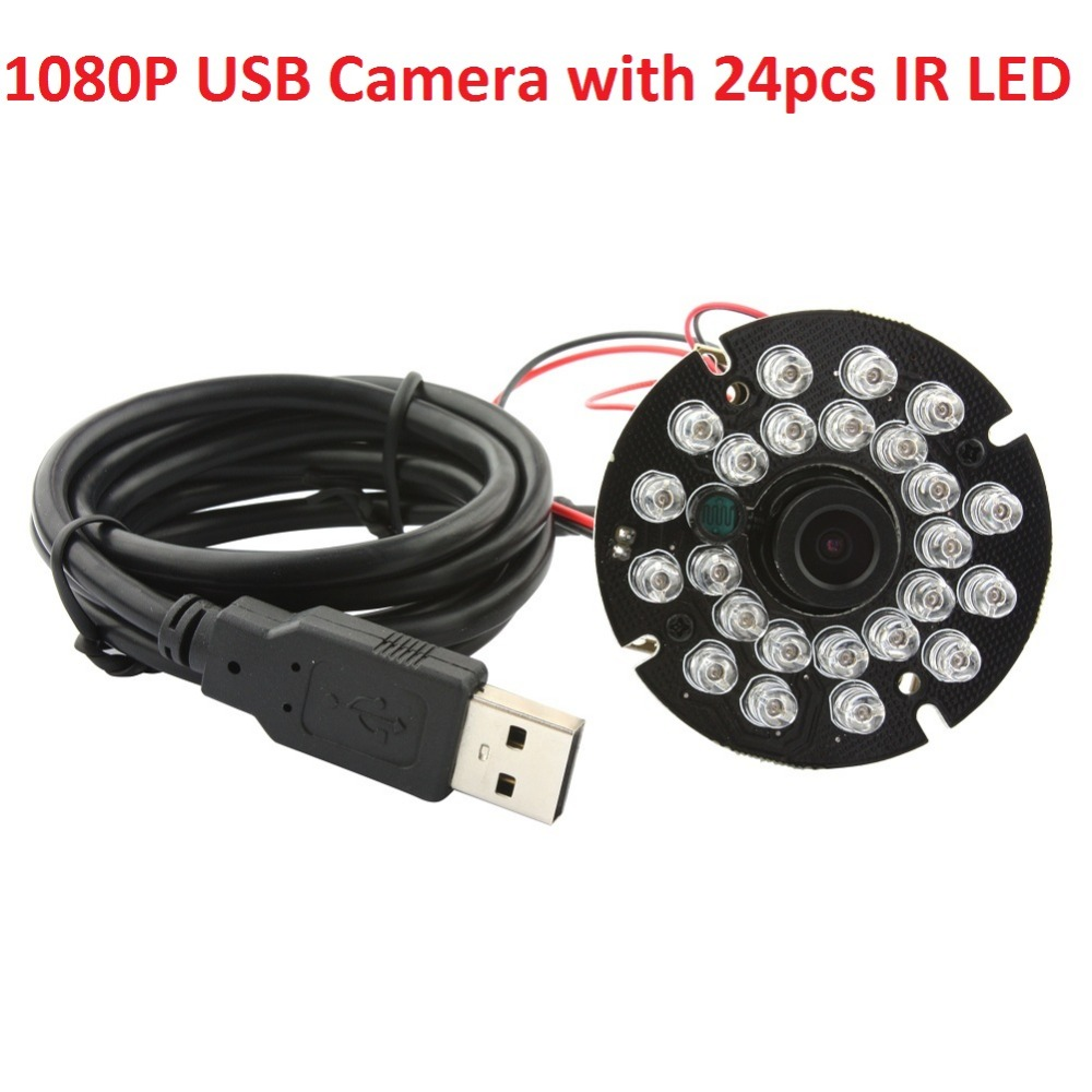 ELP 1080P MJPEG&YUY2 CMOS Security IR CCTV Camera video Night Vision 2.8mm lens 24 pieces IR LED Infrared camera module elp cctv security usb camera 1mp 720p h 264 mjpeg yuy2 cmos ov2710 hd mini ir infrared night vision pc webcam usb