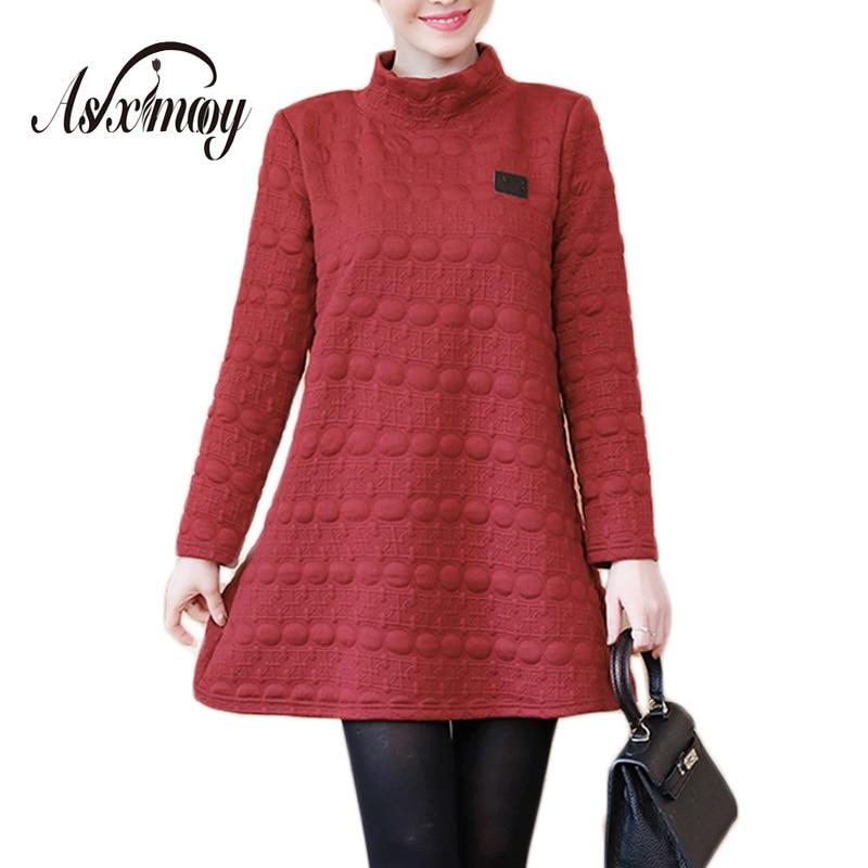 Women Dress Plus Size Long Sleeve 4XL 5XL Turtleneck Warm Autumn Winter  Dresses Women 2018 Casual Sweatshirt Hoodies Women Dress