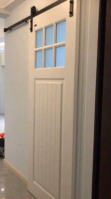 Porte coulissante en bois matériel de voie de grange matériel de Rail de porte de grange suspendu Kit de voie de porte coulissante américaine Kit de glissière de système de porte de grange