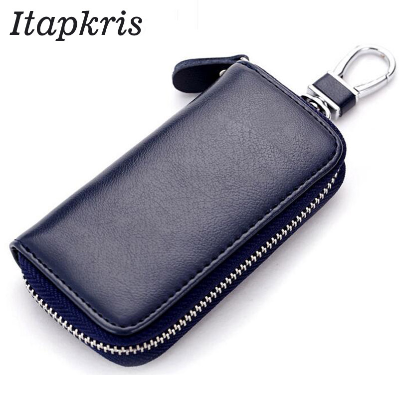 Itapkris High Quality Leather Men Housekeeper Coin Pouch Key Wallet Fashion Organization Car Key Holder With Keyring Black