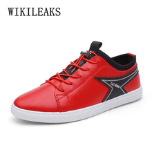 d76f400b1a5 Red Men Casual Shoes Summer 2019 Leather Loafers Designer Flat Shoes Brand  Breather Comfortable Slip On Shoes Men White Sneakers