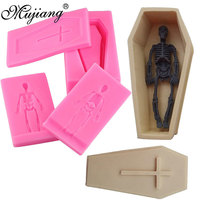 Halloween 4 Pcs Ghost Bone Coffin Skull Cake Decorating Tools Cake Baking Silicone Mold Fondant Candy Chocolate Gumpaste Moulds