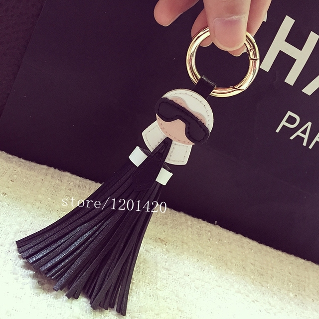 Fashion karl tassel accessories bag charm Mujer handbag charm key chain  chains Car Keys Ring Pendants Leather Tassel Purse Charm 3fc5a12f8ec0e
