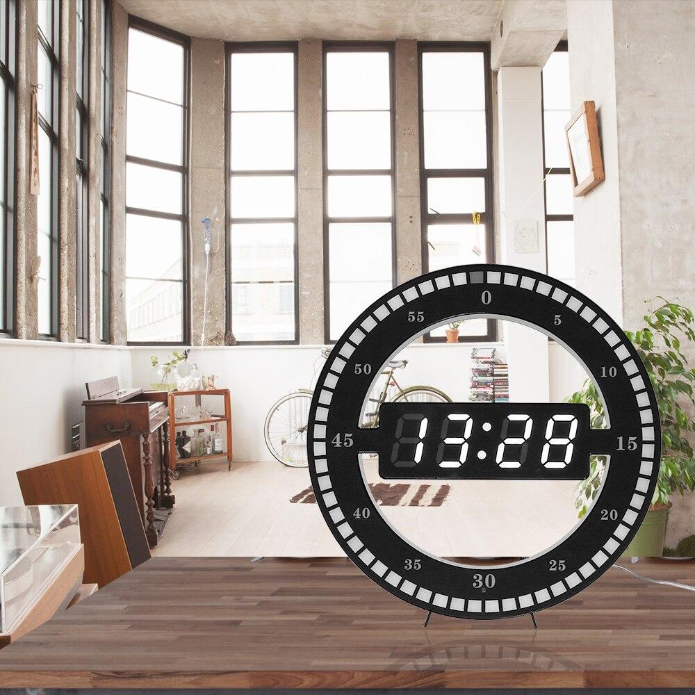 LED photoréceptive circulaire horloge murale numérique Design moderne double usage gradation horloges numériques pour la décoration de la maison - 6