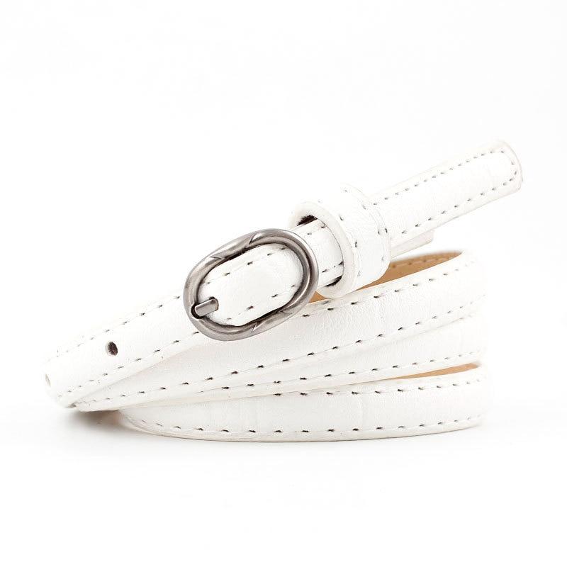 2018 New Designer Ladies White Pink Red Black Narrow Thin Belt Female Vintage Pin Buckle Waist Belts for Women Jeans Pants Strap