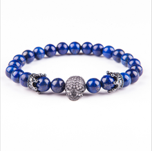 Natural Lava Stone Beads Bracelet Bangles Skull Crown Volcanic Bracelets Men Women Healthy Energy Jewelry