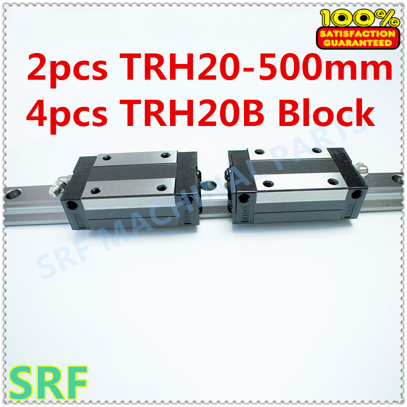 High Precision 2pcs Linear guide 20mm TRH20  L=500mm Linear Rail+4pcs TRH20B Slider block for cnc tbi 2pcs trh20 1000mm linear guide rail 4pcs trh20fe linear block for cnc