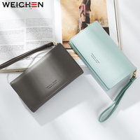 WEICHEN New Fashion Women Small Leather Clutch Wallets Famous Designer Brand Lady Coin Purse Female Credit
