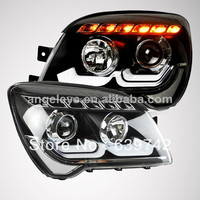 2007 2012 year for KIA Sportage LED Strip Head Light with Projector Lens LDV2