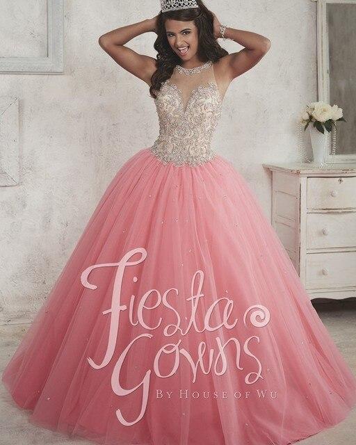 d2fef54c75 Hermosa Rosa Vestidos de Quinceañera 2017 Vestido de Falda de Tul con  Cuentas Escote Ilusión 15
