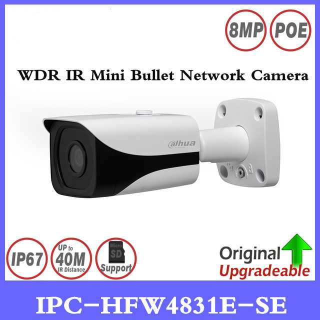 DH IPC-HFW4831E-SE 8MP WDR IR Mini Bullet Network IP Camera 4K Smart Detect 40m IR Support Micro SD Card H.265 WDR IP67 PoE original ipc hdbw4431f as 4mp ir mini dome network ip camera ir20m support micro sd card smart detection h 265 wdr ip67 ik10 poe