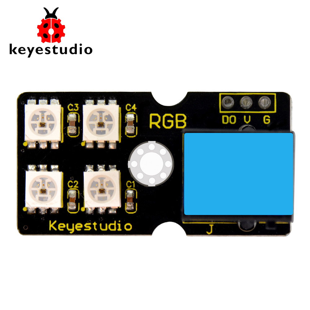 Keyestudio EASY plug 2812 2x2 full-color RGB Module for ArduinoKeyestudio EASY plug 2812 2x2 full-color RGB Module for Arduino