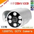 """Бесплатная доставка 2016 НОВЫЙ 1/3 """"SONY CCD HD 1200TVL Водонепроницаемая камера Открытый безопасности 6 Шт. массив светодиодов ИК 80 м CCTV Камеры"""