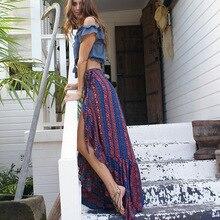 Summer Beach Bohemian Womens Long Maxi Skirt Dassle Print Hawaii Holiday Mermaid Asymmetrical Skirts For Ladies