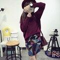 Donna Suéter de Cuello de Tortuga Otoño Vendimia de Las Mujeres Cuello de Tortuga Manga Larga Jersey de Punto Suéter Flojo de Gran Tamaño Jumper M1111C