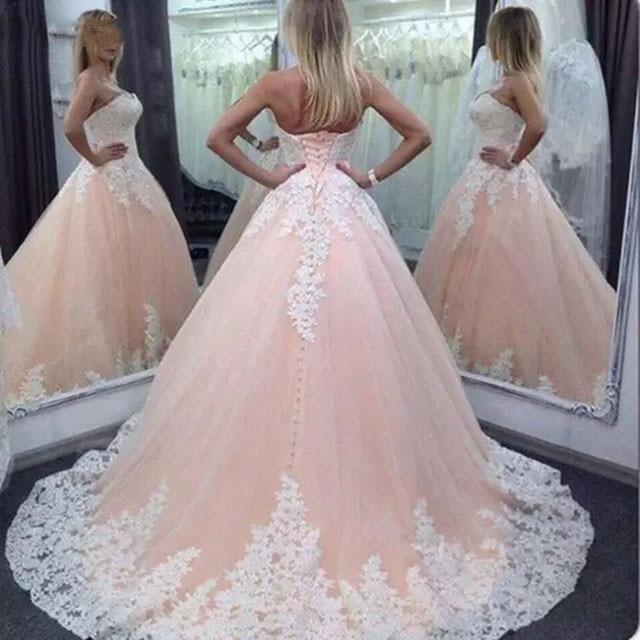 vestido de noiva Pink Wedding Dresses Ball Gown Sweetheart Lace Tulle Corset Back Long Bridal Dress