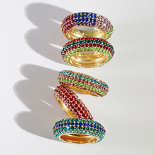 Top Quality Classical mix color Cubic Zircon Wedding Ring for Women Gold Color Austrian Crystal colorful cz ring 2019