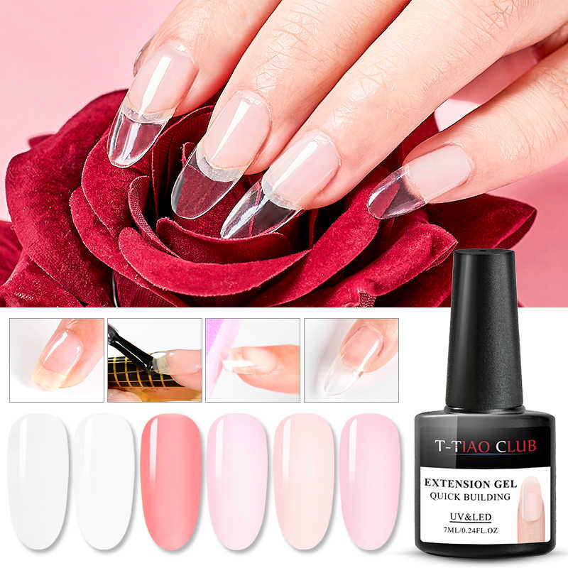 7ml Quick Acryl Poly Extension Gel Gebouw Nail Gel Polish Naakt Clear Roze UV Builder Nail Gel Tips Art manicure Soak Off