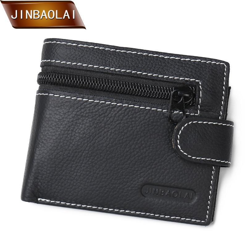 JINBAOLAI valódi bőr férfi pénztárcák márka logó cipzár tervezés rövid férfi pénztárca érme zsebkártya tartó érme erszényes carteira