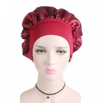 Silk Night Sleep Cap Hair Bonnet Hat Head Cover Satin Wide Adjust Elastic Band Women's Satin Solid Wide-brimmed Hair Care Cap