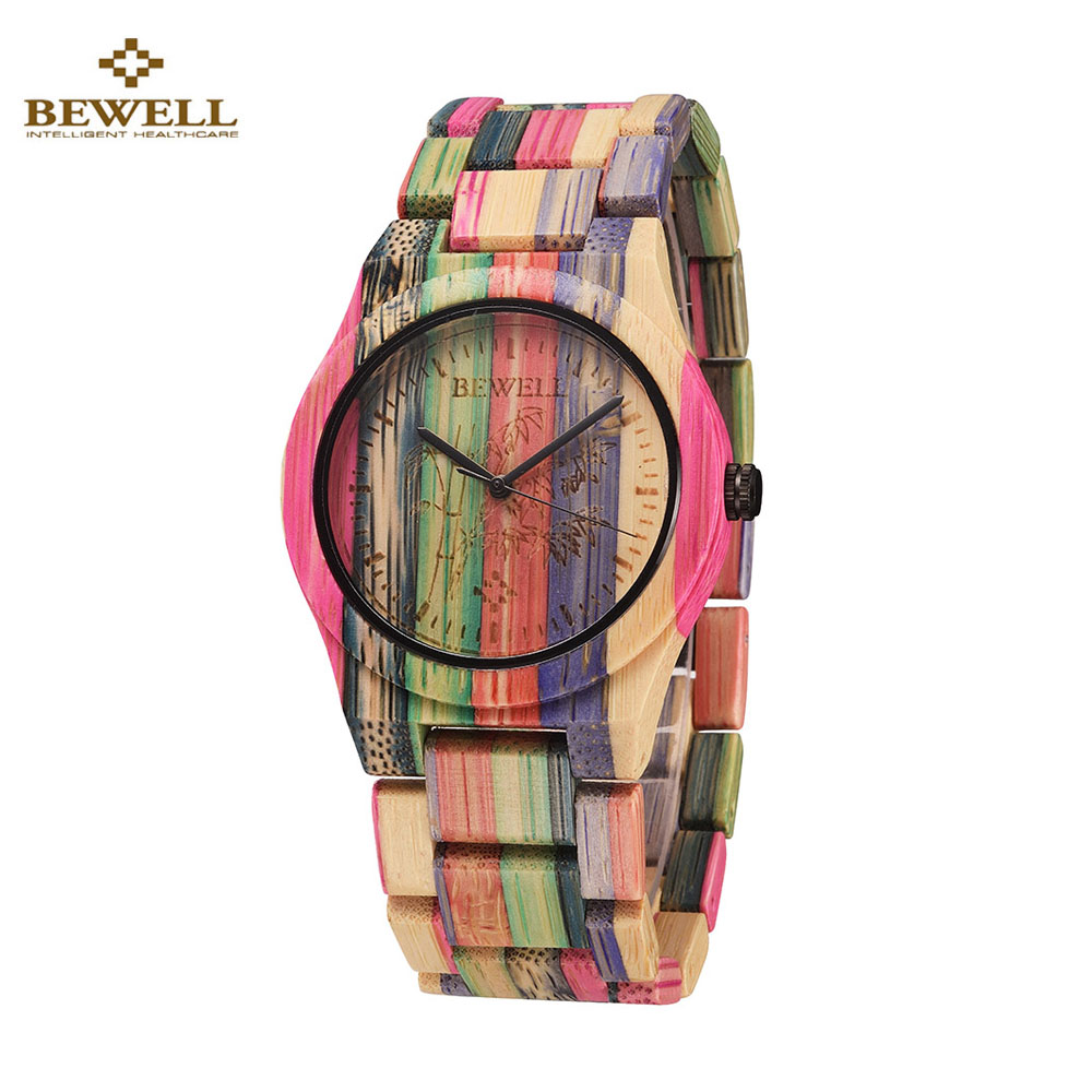 BEWELL Fashion Bamboo Quartz Lover's Watches Luxury Brand Men Women Watch Bamboo Wood Clock Men Watch for Gift