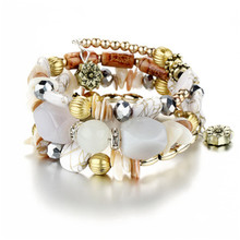 GHZTYF Woman Boho Multilayer Beads Charm Bracelets for Women Vintage Resin Stone & Bangles Pulseras Ethnic Jewelry Cha