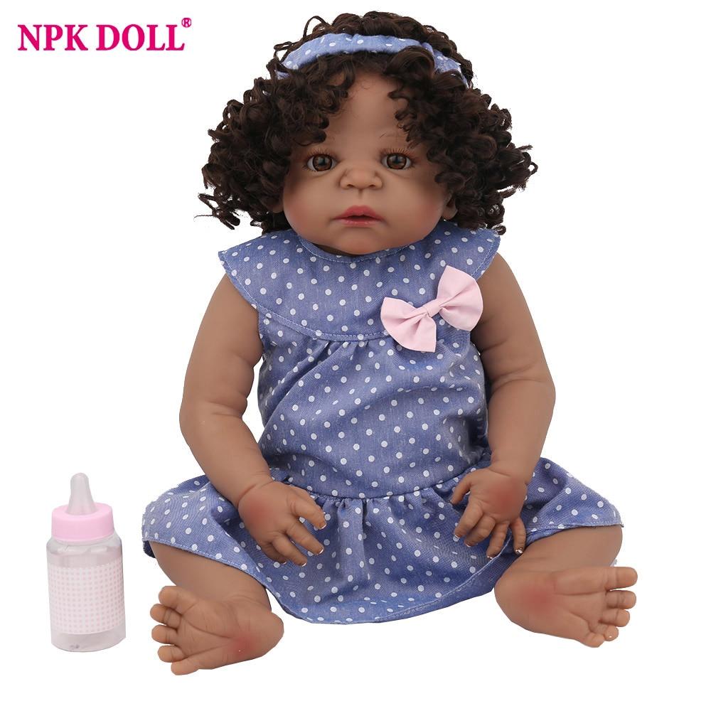 NPKDOLL Reborn Baby Doll 22 inch Full Vinyl African Black Curly Brown Hair Soft Silicone Christmas