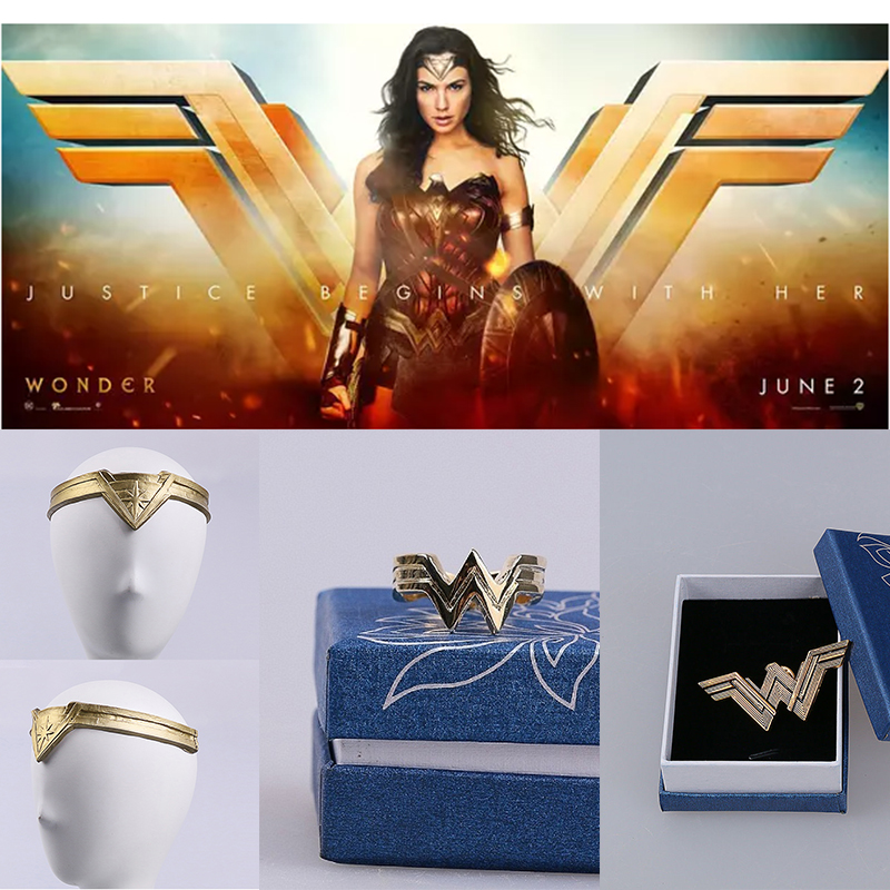 2017 Movie Wonder Woman Princess Diana Prince Logo Cosplay Badges Brooches Pins Headgear Ring Accessory With Box