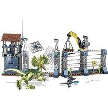 342pcs Jurassicc World Dilophosaurus Front Gate Attack Building Blocks Bricks Baby Toys Children Gift Compatble Sermoido 75931