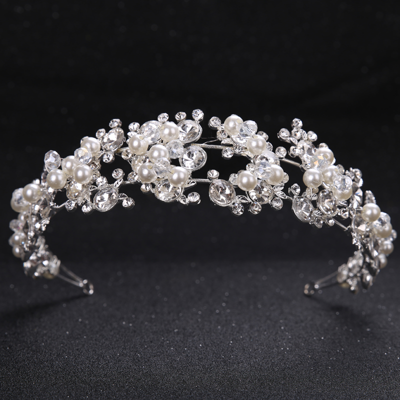 TUANMING Crystal Pearl Flower Bride Headbands Women Silver Princess Wedding Hair Jewelry Tiara Hairbands Hair Accessories Crown