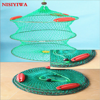 Folding Round Crab Fish Care Net Metal Frame Nylon Mesh Foldable Fishing Net 3layers with 3 Floating Crab Fish Care Fishing Net