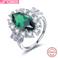 Jrose Chic 8*16mm Created Emerald White CZ Engagement Ring 925 Sterling Silver Ring Fashion Design Fine Jewelry Luxury Party