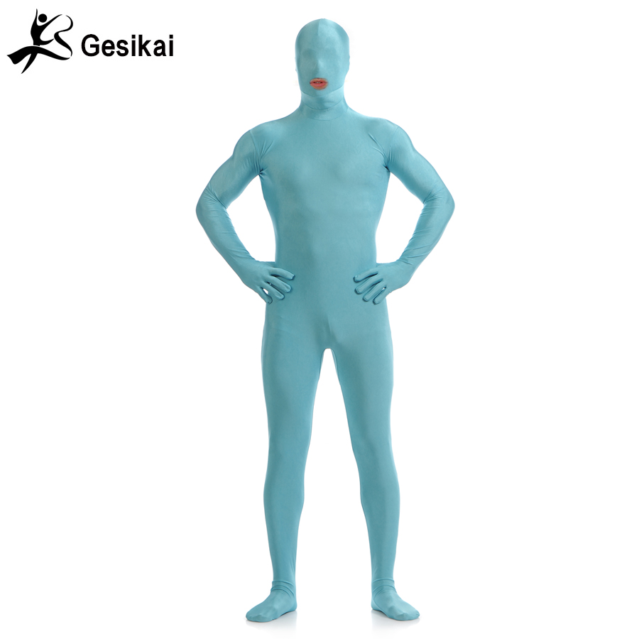 Gesikai Men's Open Mouth Zentai Full Bodysuit Custom Made Back Zipper Second Skin Tights Suit Fancy Halloween Costumes